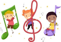 Illustration of Kids Playing with Musical Notes